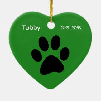 Green Heart Pet Cat Memorial Christmas Ornament