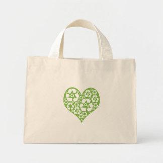 Green Heart Recycle Mini Tote Bag