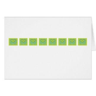 Green Heart Row Note Card