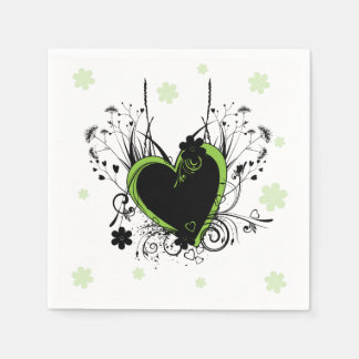 Green heart white disposable napkin