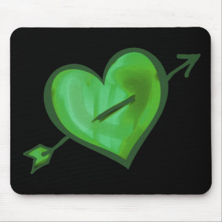 Green Heart with Arrow Mouse Pad