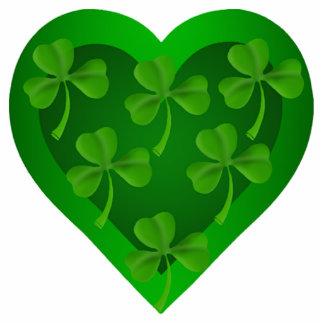 Green Heart with Shamrocks Keychain Photo Sculpture Keychain