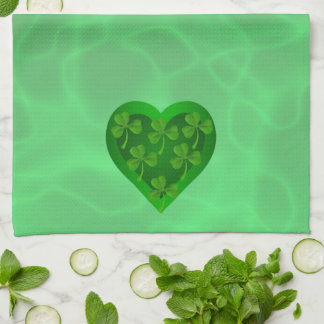 Green Heart with Shamrocks Kitchen Towel