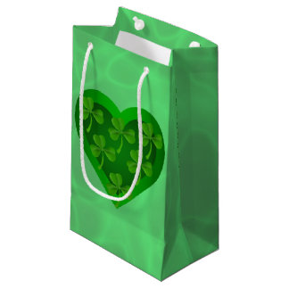 Green Heart with Shamrocks Small Gift Bag