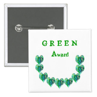 GREEN Hearts n Green STARS 2 Inch Square Button