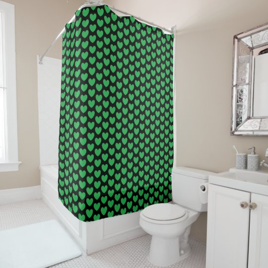 Green Hearts on Black Fun Pattern Shower Curtain
