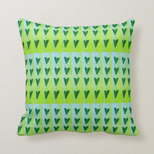 green hearts throw pillow