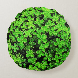 Green Hedge - Flower Surface Texture Round Pillow