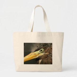 Green Heron Baby Large Tote Bag