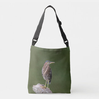 Green Heron on a log Crossbody Bag
