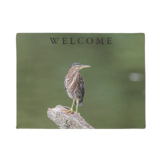 Green Heron on a log Doormat