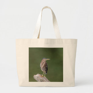 Green Heron on a log Large Tote Bag