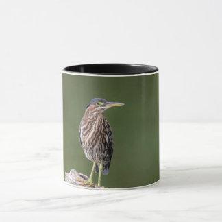 Green Heron on a log Mug