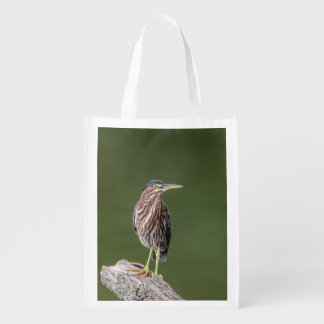 Green Heron on a log Reusable Grocery Bag