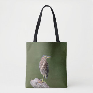 Green Heron on a log Tote Bag