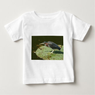 Green Heron on Giant Lily Pad Baby T-Shirt