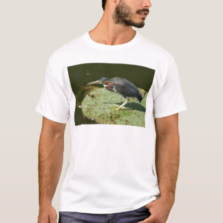 Green Heron on Giant Lily Pad T-Shirt