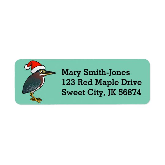 Green Heron Santa Return Address Label