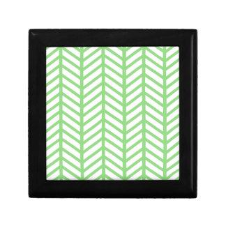 Green Herringbone Gift Box