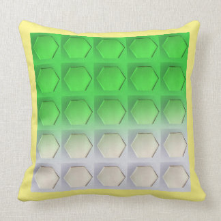GREEN HEX WITH LIGHT YELLOW TRIM THROW PILLOW