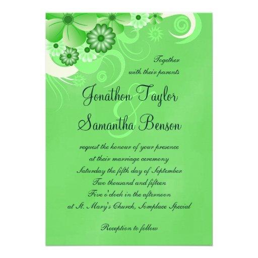 Green Hibiscus Floral Custom Wedding Invitation Personalized Invites