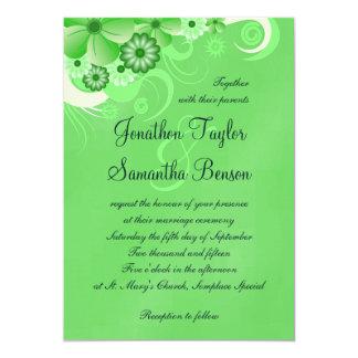 Green Hibiscus Floral Custom Wedding Invitation