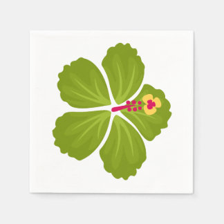 Green Hibiscus Flower Disposable Napkins