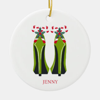 Green High Heels with Candy Canes Ceramic Ornament
