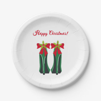 Green High Heels with Christmas Bows Paper Plate