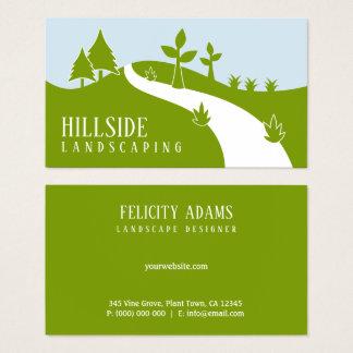 Green Hillside Landscaping Vector Landscaper Business Card