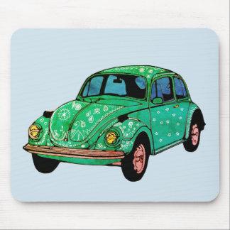 Green Hippie Car Mandala Art  Mousepad