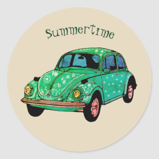 Green Hippie Car Mandala Art Summertime  Sticker