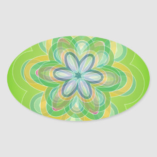 Green Hippie Flower vector blues oranges white Oval Stickers
