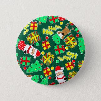 Green - Ho Ho Santa 2 Inch Round Button
