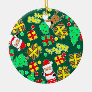 Green - Ho Ho Santa Ceramic Ornament