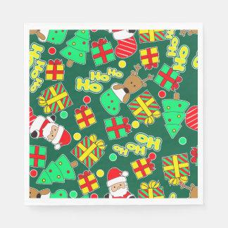 Green - Ho Ho Santa Disposable Napkins