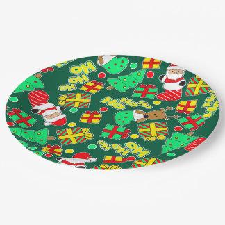 Green - Ho Ho Santa Paper Plate