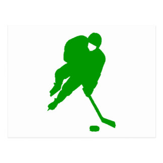 Green Hockey Player Postcard
