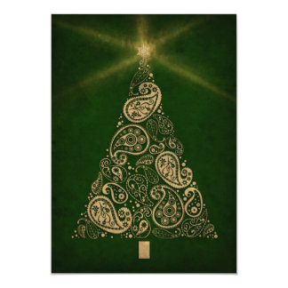 Green Holiday Card with Paisley Tree
