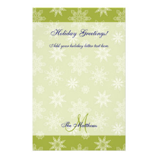 Green Holiday Letter Template | Snowflakes Stationery