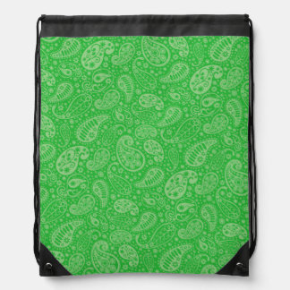 Green Holiday Paisely Drawstring Bags