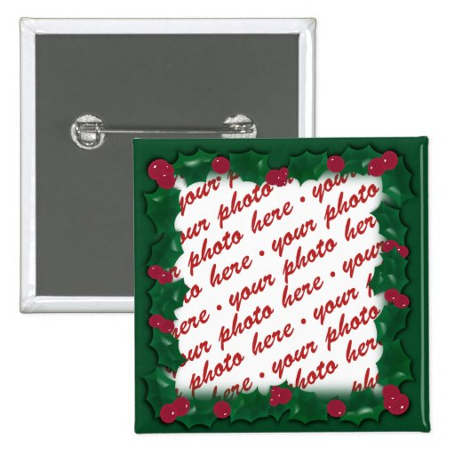 Green Holly Frame for your Christmas Photo! Button