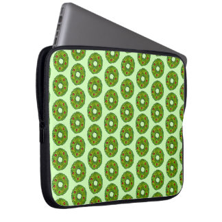 Green Holly Wreath Christmas Cookie Holiday Print Laptop Sleeve