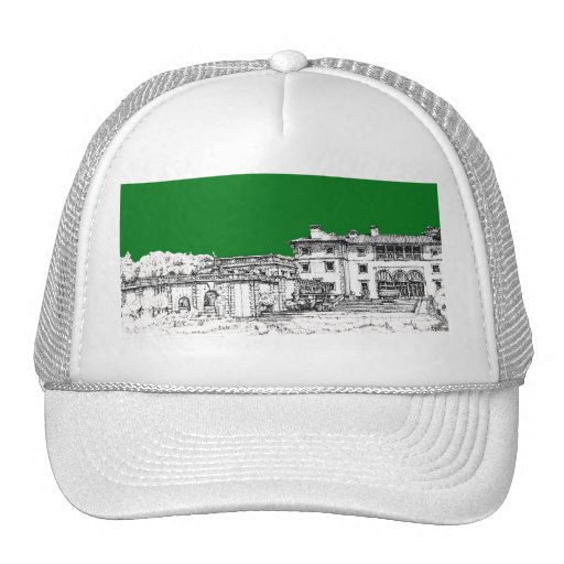 green home drawing mesh hat