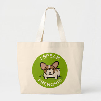 Green Honey Pied I Speak Frenchie Large Tote Bag