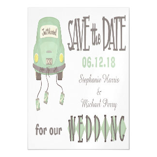 Green Honeymoon Car Save the Date Wedding Magnetic Invitations