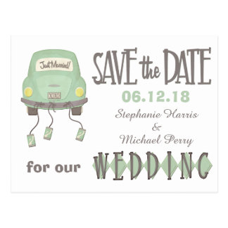 Green Honeymoon Car Save the Date Wedding Postcard