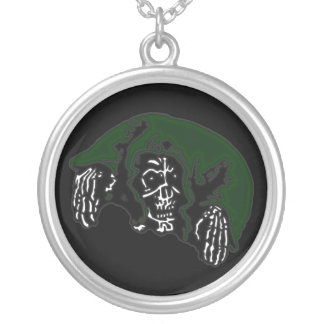 Green Hooded Reaper Silver Plated Necklace