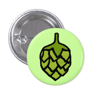 Green Hops Plant Beer 1 Inch Round Button