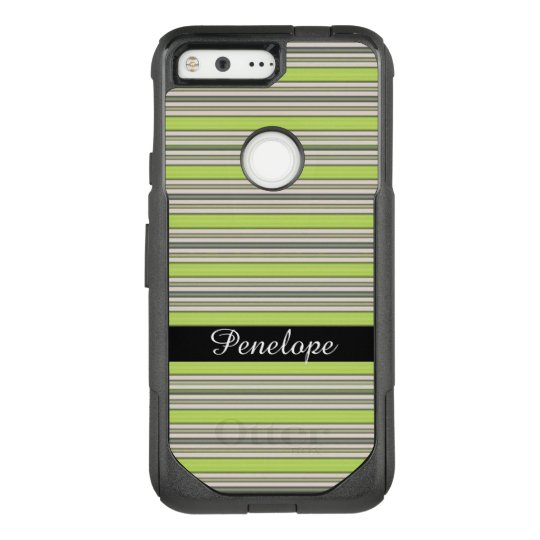 Green Horizontal Striped Pattern Add your name OtterBox Commuter Google Pixel Case